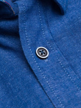 Close Up of Blue Short Sleeve Linen and Cotton Shirt Fabric