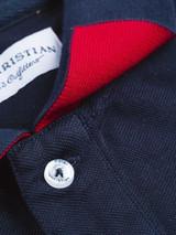 Close Up of Navy Blue Original Polo Shirt Detail