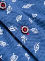 Close Up of Blue Leaf Original Polo Shirt Fabric