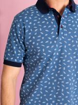 Model Close Up of Blue Leaf Original Polo Shirt