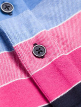 Close Up of Pink & Navy Original Polo Shirt Fabric