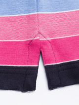 Close Up of Pink & Navy Original Polo Shirt Detail