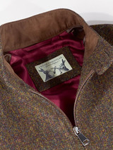 Close Up of Bronze Brown Harris Tweed Harrington Jacket Collar