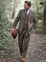 Model Wearing Bracken Brown Harris Tweed Suit Jacket