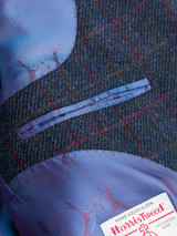 Close Up of Slate Blue Harris Tweed 3 Button Jacket Lining