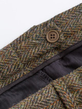 Close Up of Bracken Brown Harris Tweed Trousers Adjustable Waistband
