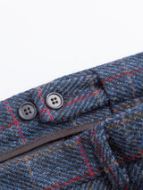 Close Up of Slate Blue Harris Tweed Trousers Adjustable Waistband