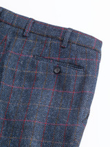 Close Up of Slate Blue Harris Tweed Trousers Fabric