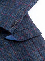 Close Up of Slate Blue Harris Tweed 2 Piece Suit Jacket Details