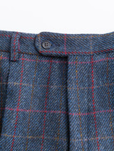 Close Up of Slate Blue Harris Tweed 2 Piece Suit Trousers Fabric