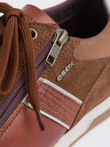 Close Up of Mens Brown Geox Renan Zip & Lace Trainer Details