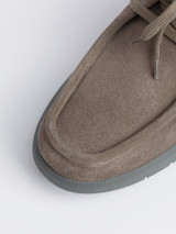 Close Up of Mens Grey Geox Errico Suede Shoe Fabric