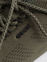 Close Up of Mens Olive Green Geox Spherica Trainer Details