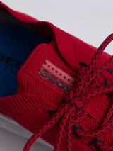Close Up of Mens Red Geox Spherica Trainer Laces