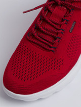 Close Up of Mens Red Geox Spherica Trainer Fabric
