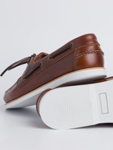 Close Up of Mens Brown Leather Boat Shoe Sole