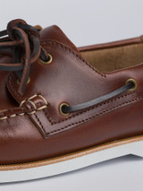 Close Up of Mens Brown Leather Boat Shoe Detail