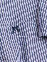 Close Up of Stripe Seersucker Half Sleeve Shirt Fabric