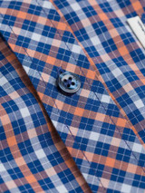 Close Up of Blue Ben Sherman House Check Shirt Details