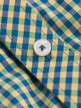 Close Up of Yellow & Green Ben Sherman Short Sleeve Gingham Shirt Fabric