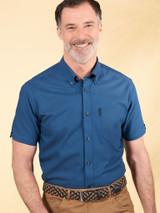 Image of Azure Blue Ben Sherman Organic Short Sleeve Oxford Shirt