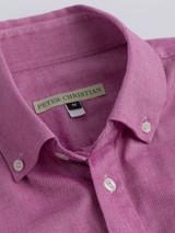 Close Up of Burgundy Short Sleeve Popover Shirt Collar