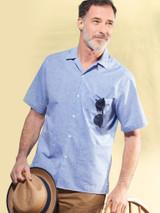 Model Wearing Blue Cotton and Linen Bermuda Shirt