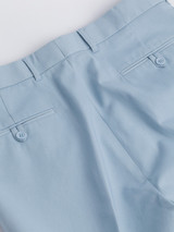Close Up of Sky Blue Flat Front Chino Trousers Rear Pockets