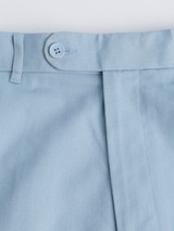 Close Up of Sky Blue Flat Front Chino Trousers Detail