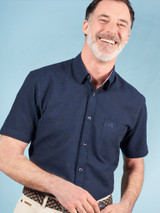 Image of Navy Blue Short Sleeve Linen and Cotton Shirt
