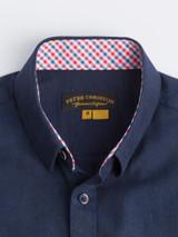 Close Up of Navy Blue Short Sleeve Linen and Cotton Shirt Details