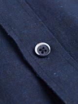 Close Up of Navy Blue Short Sleeve Linen and Cotton Shirt Button