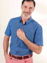 Image of Cobalt Blue Short Sleeve Linen and Cotton Shirt