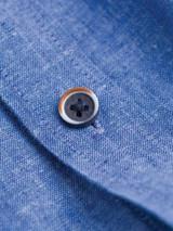 Close Up of Cobalt Blue Short Sleeve Linen and Cotton Shirt Button