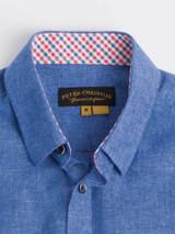 Close Up of Cobalt Blue Short Sleeve Linen and Cotton Shirt Details