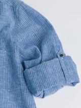 Close Up of Denim Blue Linen & Cotton Grandad Shirt Arm Detail