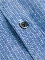 Close Up of Denim Blue Linen & Cotton Grandad Shirt Fabric