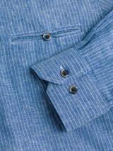 Close Up of Denim Blue Linen & Cotton Grandad Shirt Cuff