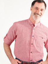 Image of Red Linen & Cotton Grandad Shirt