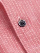 Close Up of Red Linen & Cotton Grandad Shirt Fabric