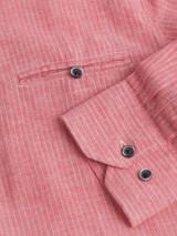 Close Up of Red Linen & Cotton Grandad Shirt Cuff