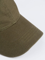 Close Up of Mens Green Cotton Baseball Cap