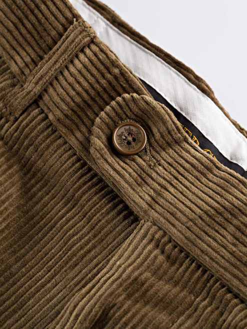 Close Up of Mens Moss Green Corduroy Trousers Fabric