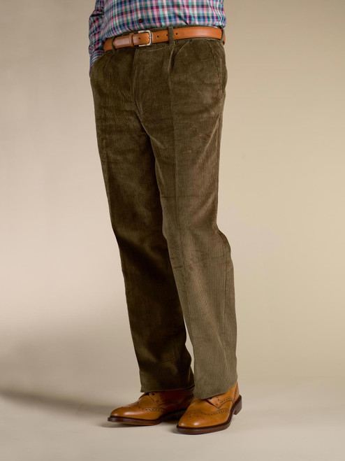 Image of Mens Moss Green Corduroy Trousers