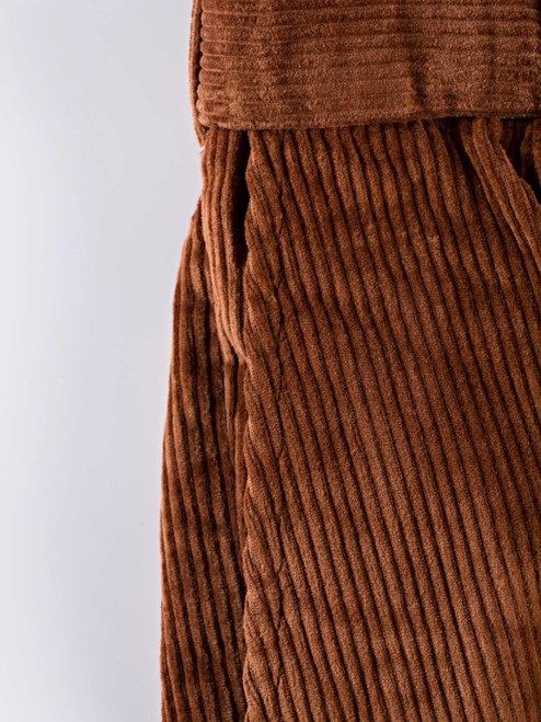 Close Up of Mens Toffee Brown Corduroy Trousers Fabric