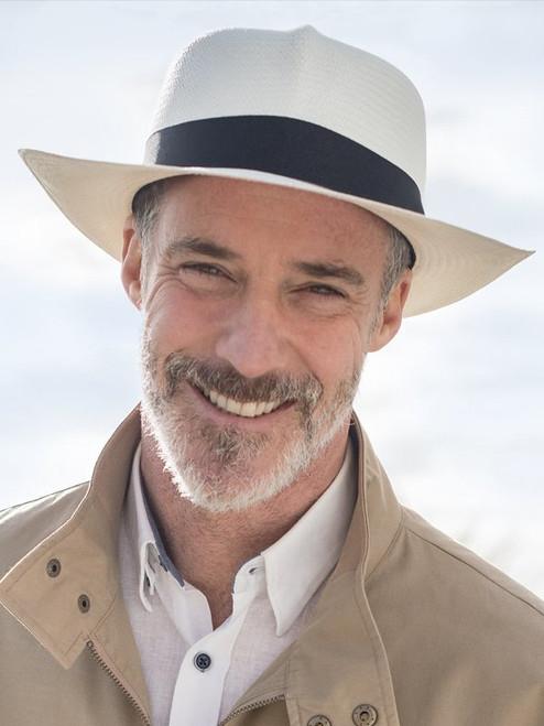 Model Wearing Mens Folder Panama Hat