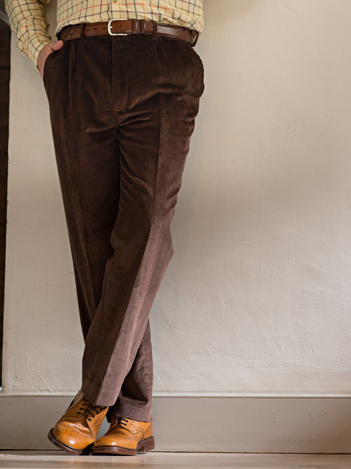 Image of Mens Conker Brown Corduroy Trousers