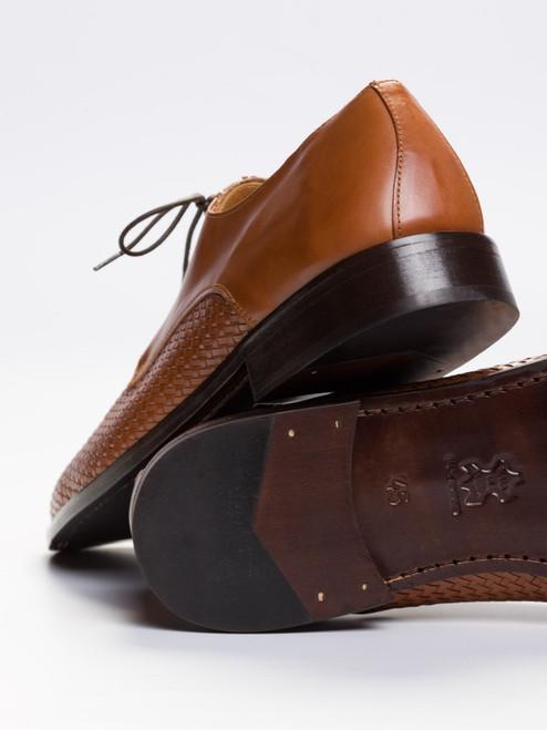 Leather Half Basket Weave Derby Shoe