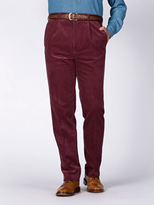 Image of Mens Burgundy Red Corduroy Trousers