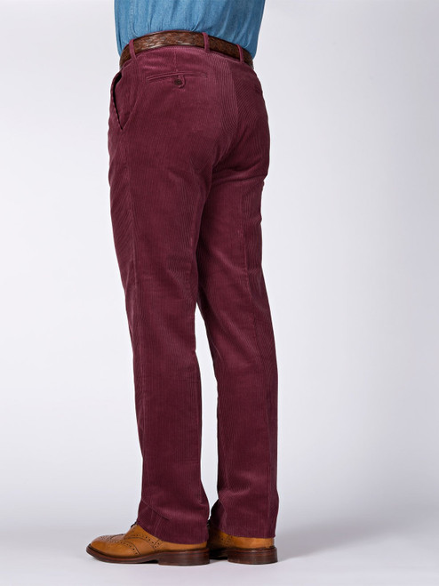 Rear Image of Mens Burgundy Red Corduroy Trousers